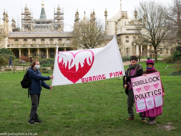 Burning Pink Banner outside Brighton Pavillion