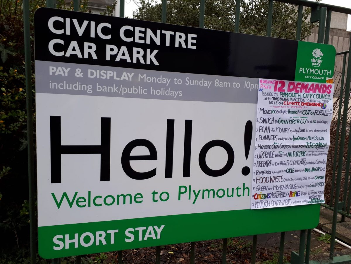 Plymouth Civic Centre Car Park Burning Pink 12 Demands