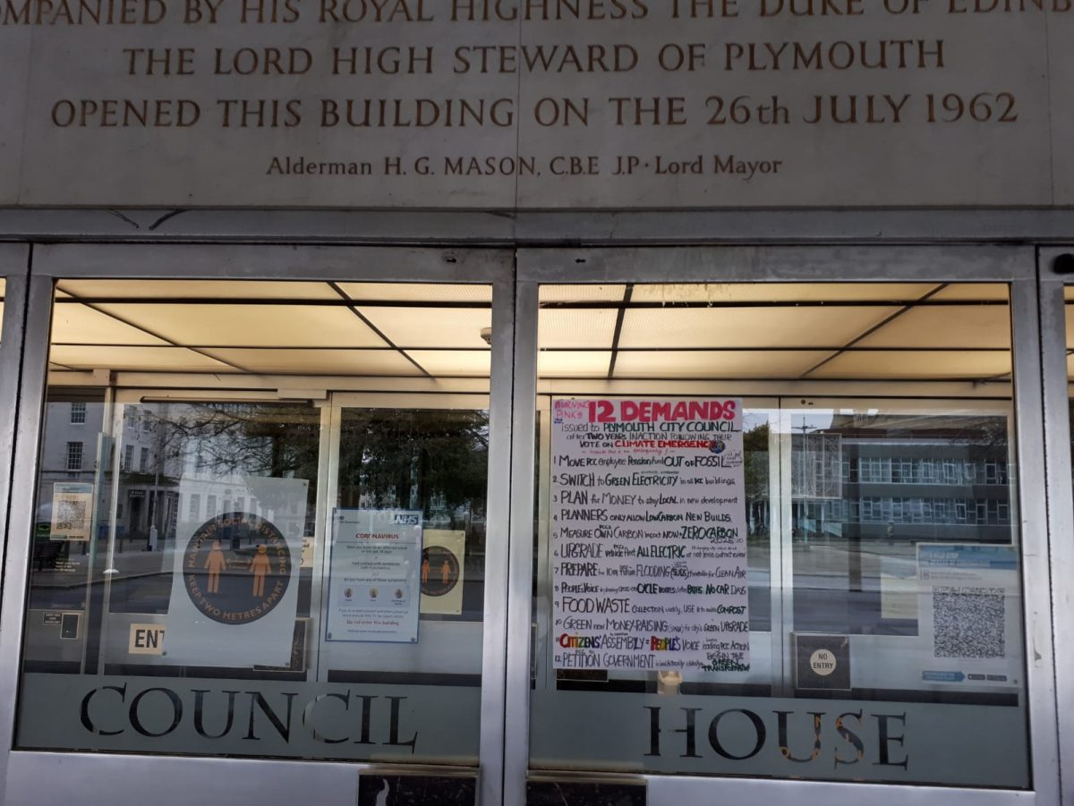 Plymouth Council House Burning Pink 12 Demands
