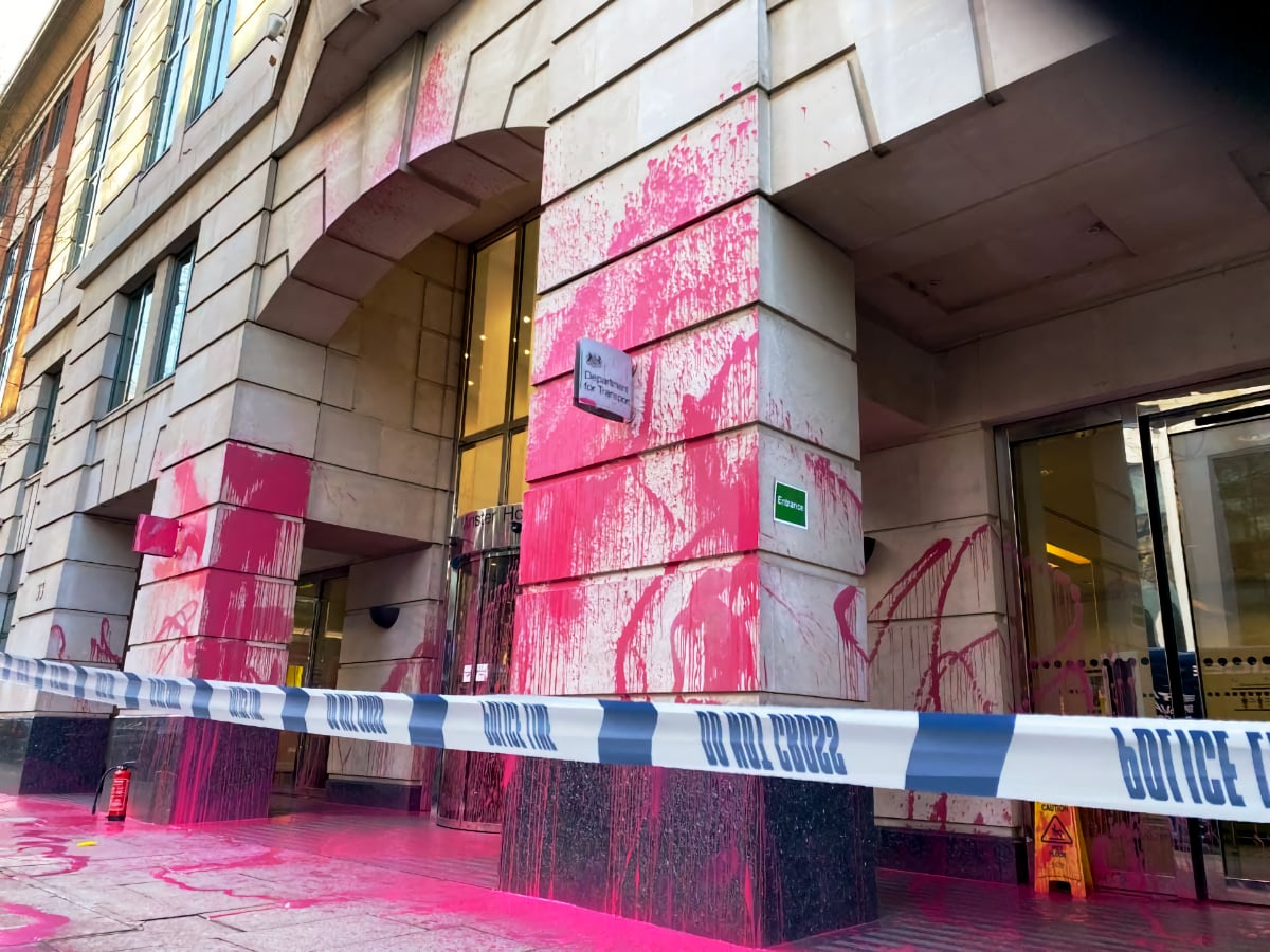 Burning Pink Spray Paint Department for Transport