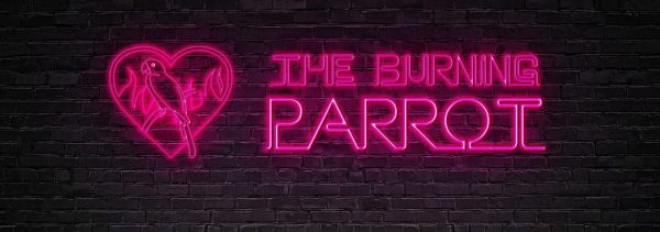 The Burning Parrot Pub sign